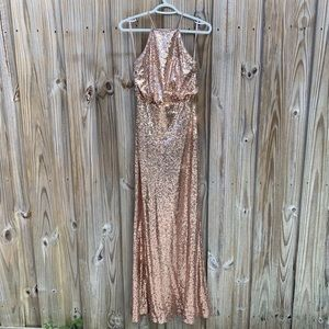 Lulus Strappy Sequin Blouson Gown